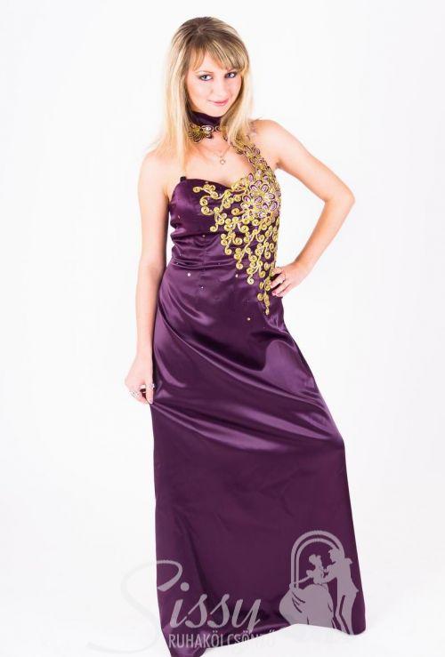 Padlizsán lila alkalmi ruha 818f28626f